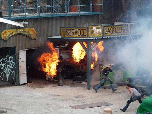 Feuerstunt bei der Stuntshow in Babelsberg