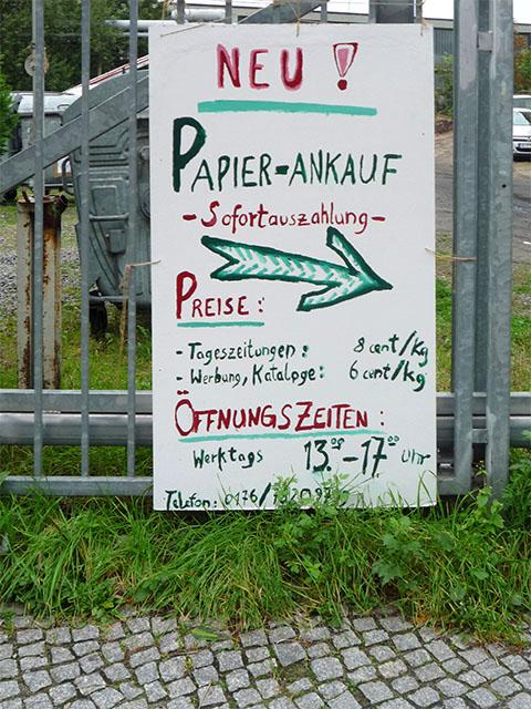 Papier-Ankauf - Werbung in der Saarbrücker Straße