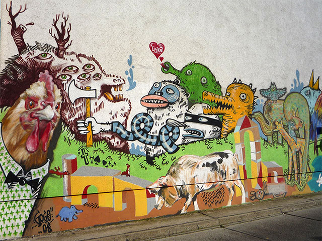 Graffiti in der Marienburger Straße in Berlin