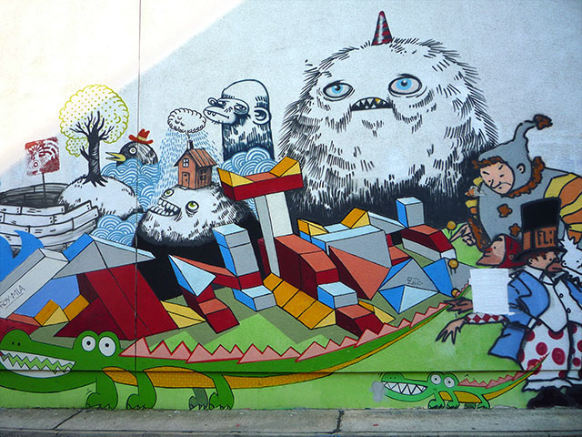 Wandbild in der Marienburger Straße in Berlin
