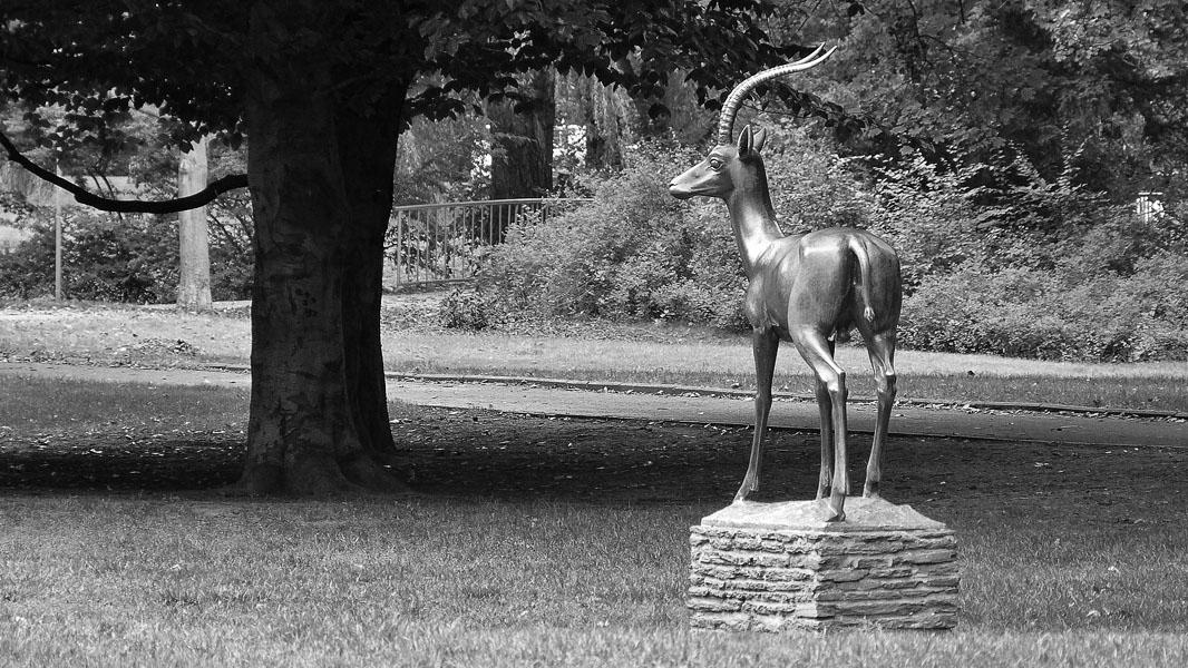 Walter Sutkowski-Statue Gazelle im Bürgerpark Pankow - schwarz/weiß