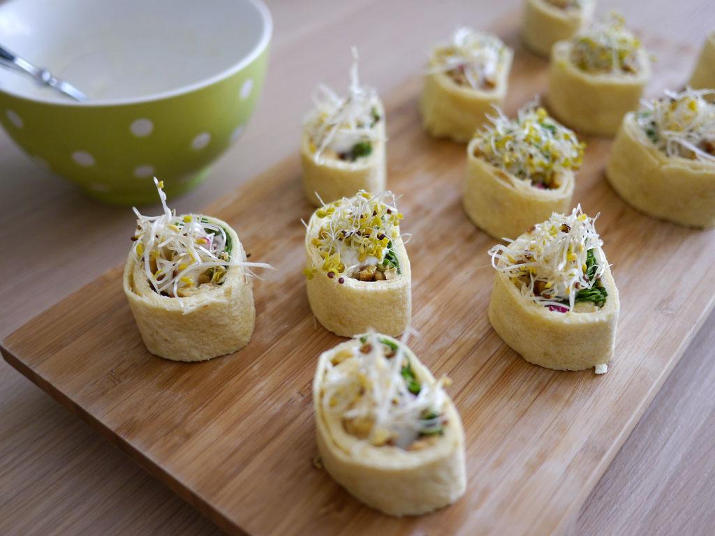 Wrap-Bites mit Tempeh - Vegan vom Feinsten