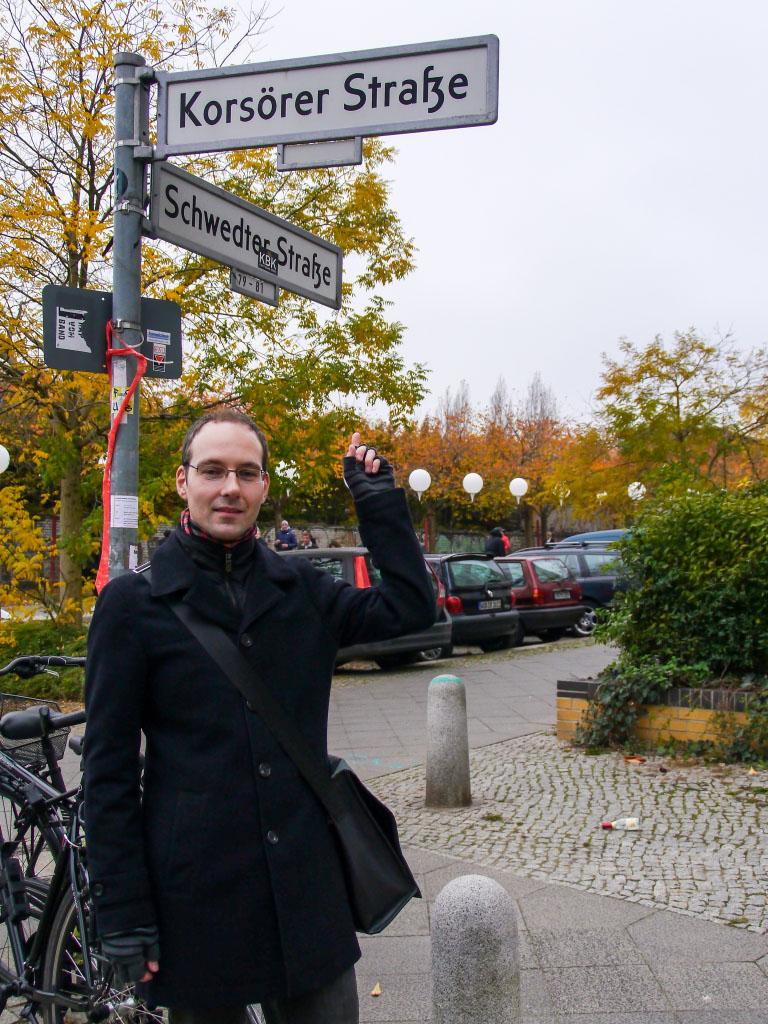 Ich in der Korsörer Straße an der Lichtgrenze Berlin