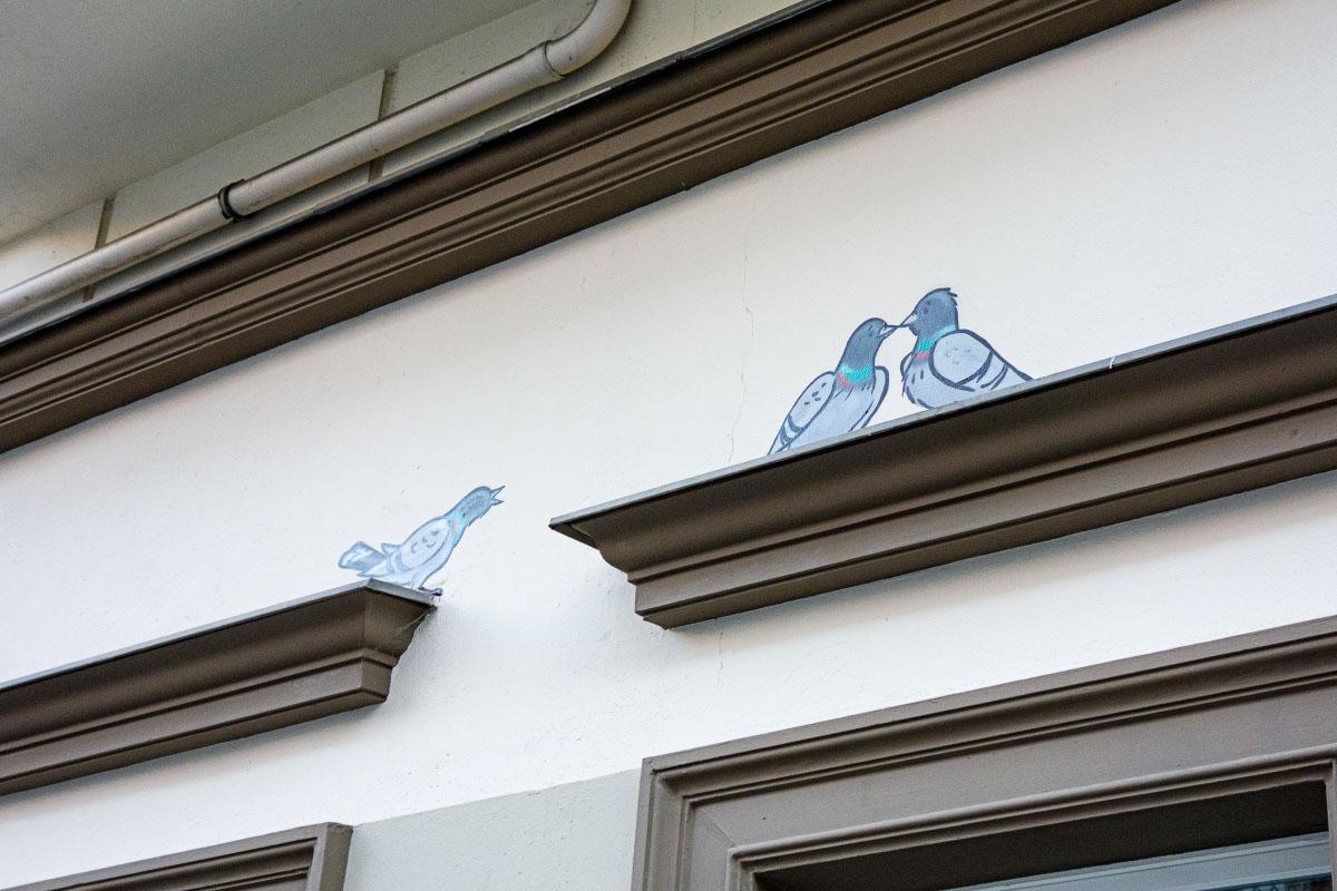 Tauben - Graffiti in Prenzlauer Berg